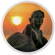 Tropical Mermaid Round Beach Towel