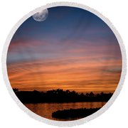 Round Beach Towel featuring the photograph Tropical Moon by Laura Fasulo