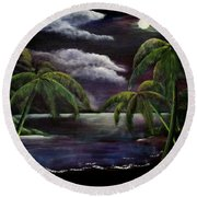 Tropical Moonlight Round Beach Towel