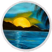 Tropical Moonshine Round Beach Towel by Jenny Lee