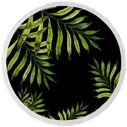 Tropical Night - Greenery On Black Round Beach Towel