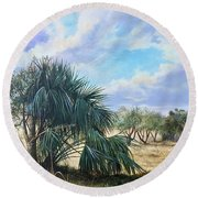 Tropical Orange Grove Round Beach Towel