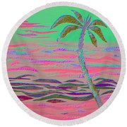 Hot Pink Coconut Palm Round Beach Towel