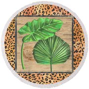 Tropical Palms 1 Round Beach Towel by Debbie DeWitt