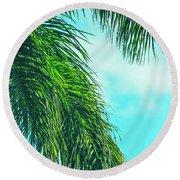 Tropical Palms Maui Hawaii Round Beach Towel by Sharon Mau