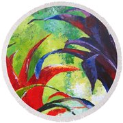 Tropical Paradise Palette Knife  Painting Round Beach Towel