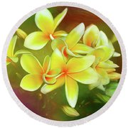Round Beach Towel featuring the photograph Tropical Plumeria Art By Kaye Menner by Kaye Menner