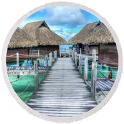 Tropical Resort Paradise Seascape Florida Keys 01 Round Beach Towel