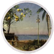 Tropical Scene Round Beach Towel by Albert Bierstadt