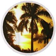 Tropical Sunset Palm Round Beach Towel