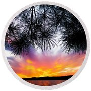 Tropical Sunset  Round Beach Towel by Parker Cunningham