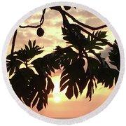 Tropical Sunset Silhouette Round Beach Towel by Karen Nicholson
