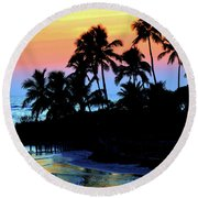 Tropical  Sunset Silouhette Round Beach Towel