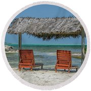 Tropical Vacation Round Beach Towel by Patricia Hofmeester