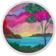 Tropical Volcano Round Beach Towel