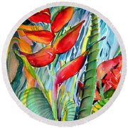 Tropical Waterfall Round Beach Towel by Mindy Newman