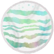 Tropical Waves  Round Beach Towel by Ann Powell