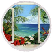 Tropical Window Round Beach Towel