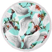 Tropical Wing Floral  Round Beach Towel by Mark Ashkenazi