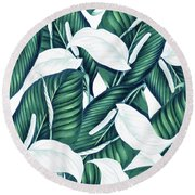 Tropical Winter Round Beach Towel