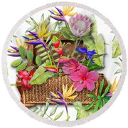 Tropicals In A Basket Round Beach Towel by Larry Bishop