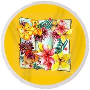 Round Beach Towel featuring the photograph Tropicana On Yellow By Kaye Menner by Kaye Menner