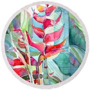 Tropicana Red Round Beach Towel by Mindy Newman