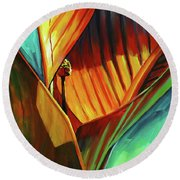 Round Beach Towel featuring the painting Tropicanna Canna by Lesley Spanos