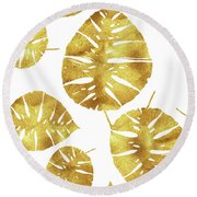 Tropiques Dor, Golden Tropics, Tropical Gold Monstera Leaves Round Beach Towel