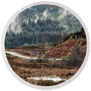 Round Beach Towel featuring the photograph Trossachs National Park In Scotland by Jeremy Lavender Photography