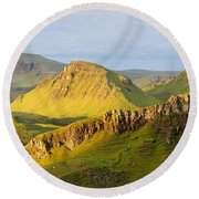 Trotternish Summer Morning Panorama Round Beach Towel