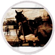 Round Beach Towel featuring the photograph trotting 1 - Harness racing in a vintage post processing by Pedro Cardona