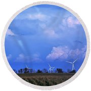 Round Beach Towel featuring the photograph Trouble In The Background by John Glass