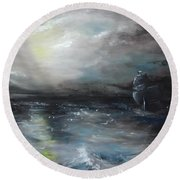 Round Beach Towel featuring the painting Troubled Waters by Isabella F Abbie Shores FRSA