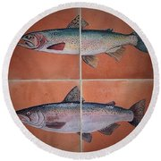 Trout And Salmon Round Beach Towel