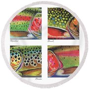 Trout Colors Round Beach Towel