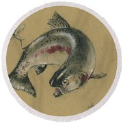 Trout Eating Round Beach Towel