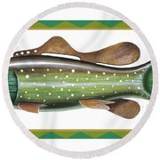 Trout Ice Fishing Decoy Round Beach Towel