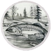 Trout Jumping Round Beach Towel
