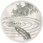 Trout Rising To Dry Fly Round Beach Towel