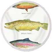 Trout Species Round Beach Towel by Juan Bosco
