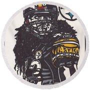 Round Beach Towel featuring the drawing Troy Polomalu 1 by Jeremiah Colley