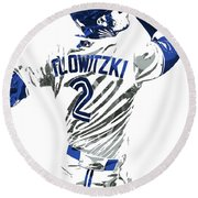 Troy Tulowitzki Toronto Blue Jays Pixel Art 2 Round Beach Towel by Joe Hamilton