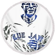 Troy Tulowitzki Toronto Blue Jays Pixel Art Round Beach Towel by Joe Hamilton