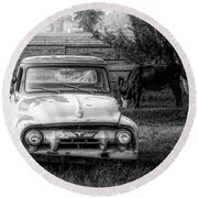 Truck And Cows Living Together Bw Round Beach Towel