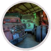 Truck Graveyard Warehouse Round Beach Towel