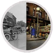 Round Beach Towel featuring the photograph Truck - Home Dressed Poultry 1926 - Side By Side by Mike Savad