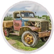 Round Beach Towel featuring the photograph Truck Of Many Colors by Sue Smith