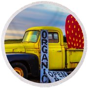 Truck With Strawberry Sign Round Beach Towel by Garry Gay