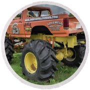 Round Beach Towel featuring the photograph Trucks Gone Wild by Guy Whiteley